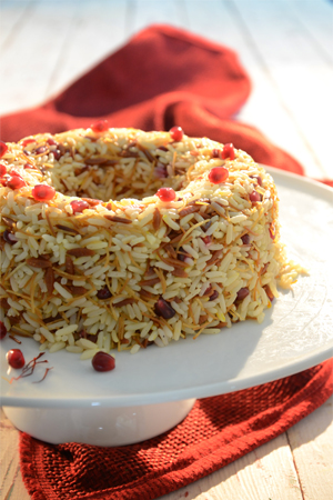 Rice with safran, fried angel hair and pomegranate